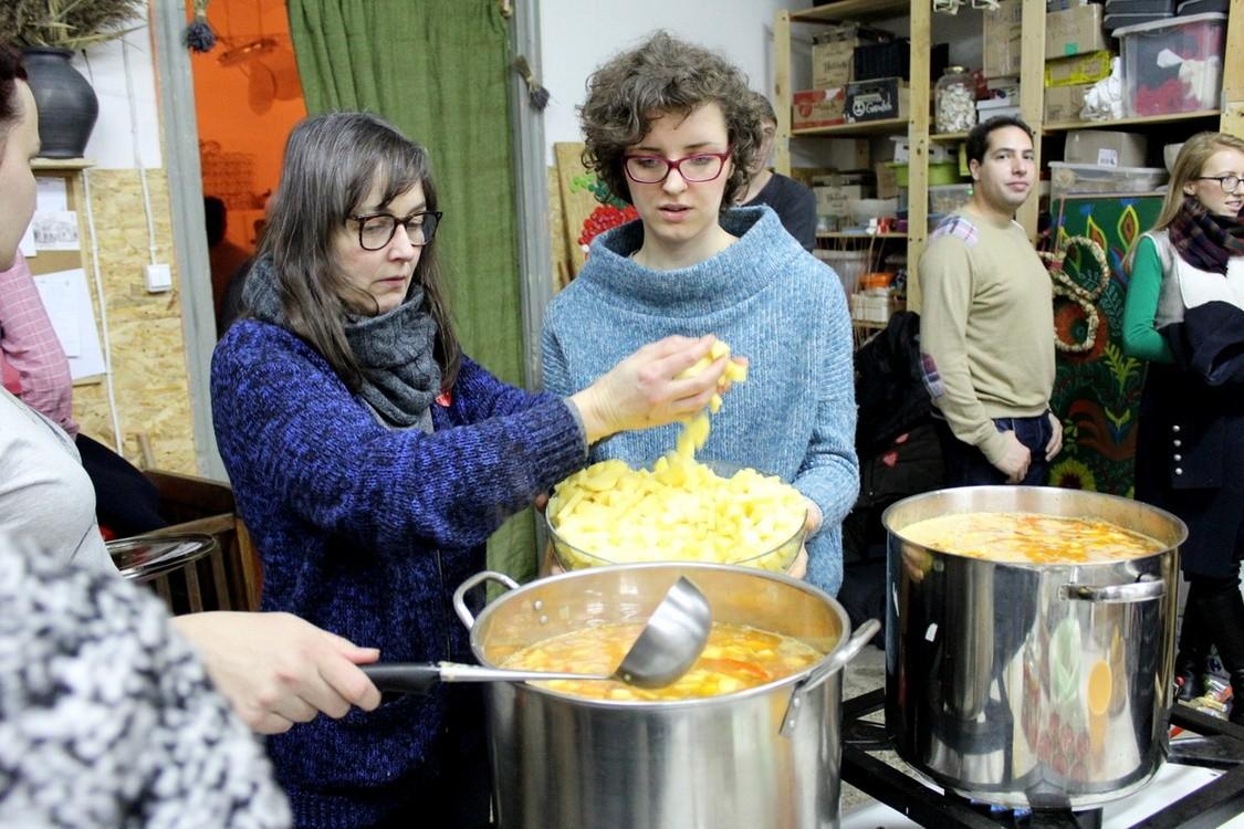 Volunteers at Zupa na Plantach Sunday soup day, Krakow, Poland