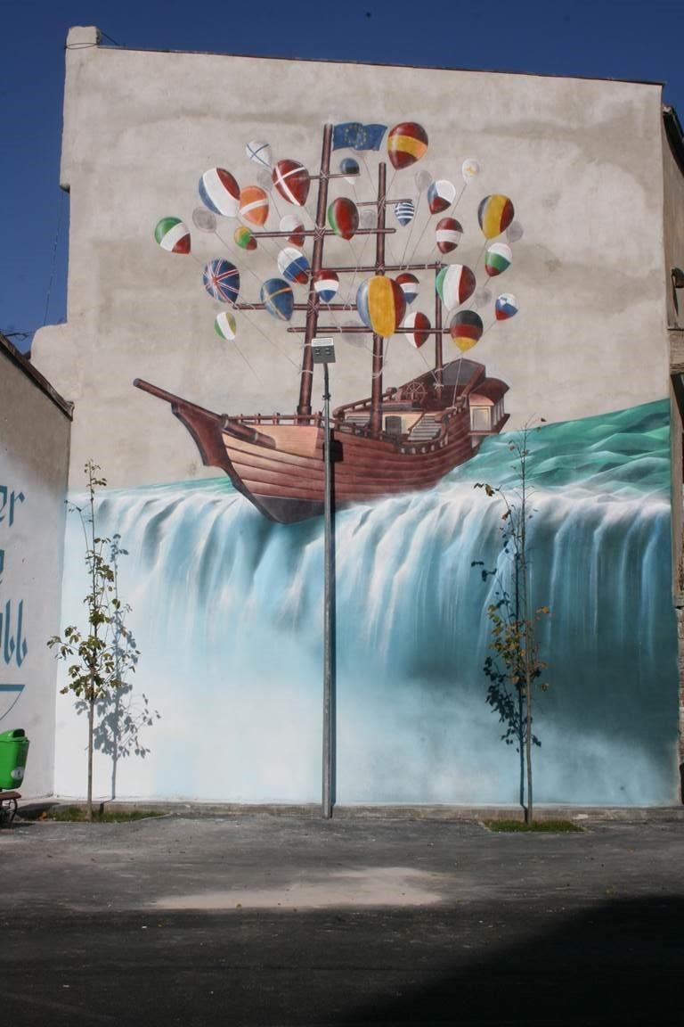 The Power of Two street art mural Bucharest