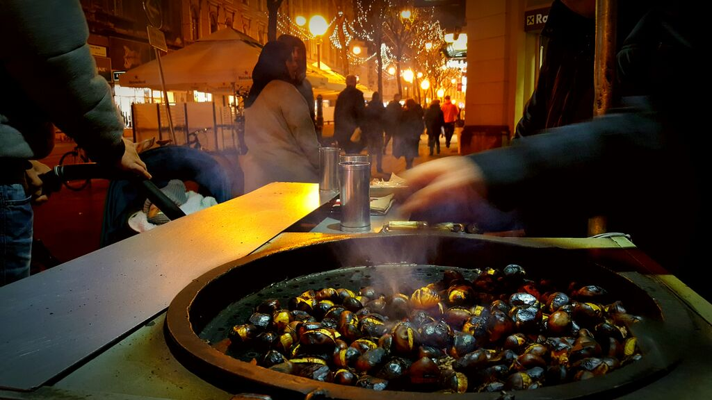 Chestnuts roasting at Zagreb Christmas market